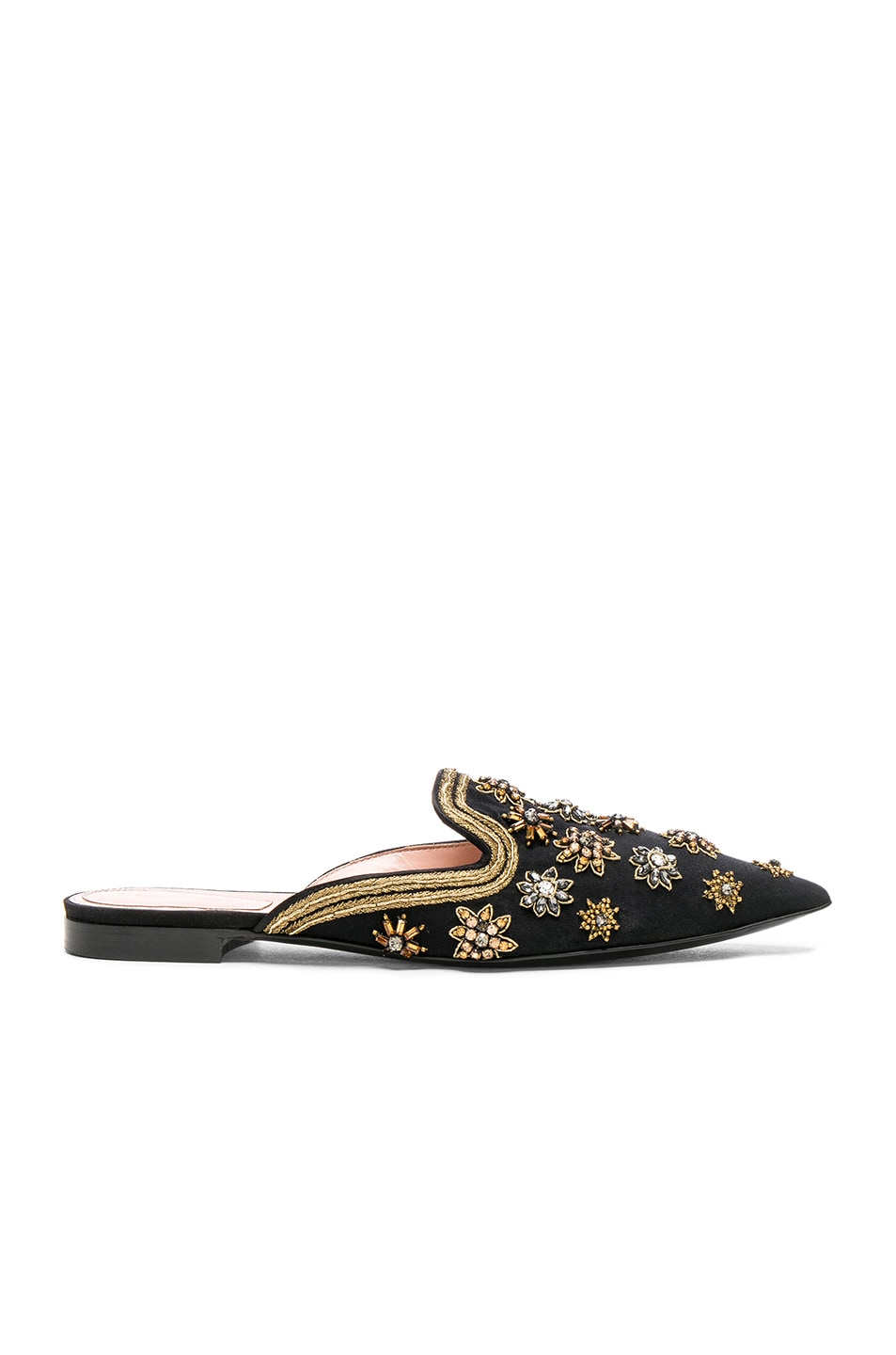 Image 1 of ALBERTA FERRETTI Satin Embellished Mules in Black