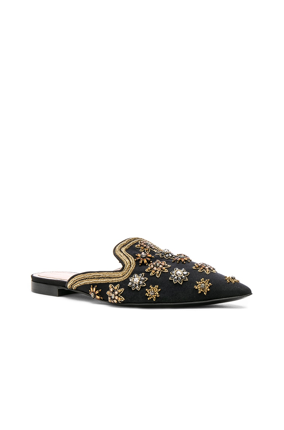 Image 2 of ALBERTA FERRETTI Satin Embellished Mules in Black