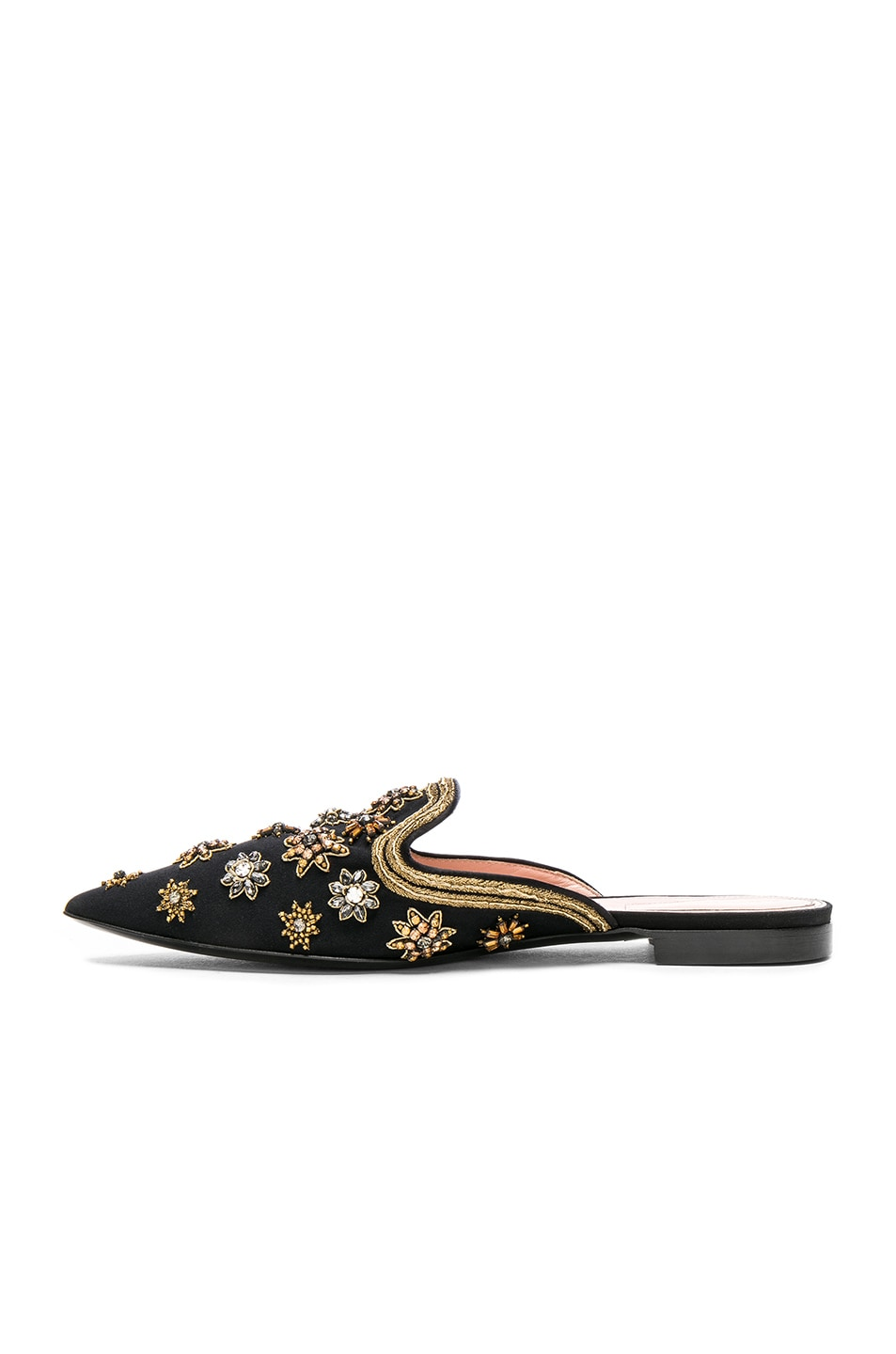 Image 5 of ALBERTA FERRETTI Satin Embellished Mules in Black