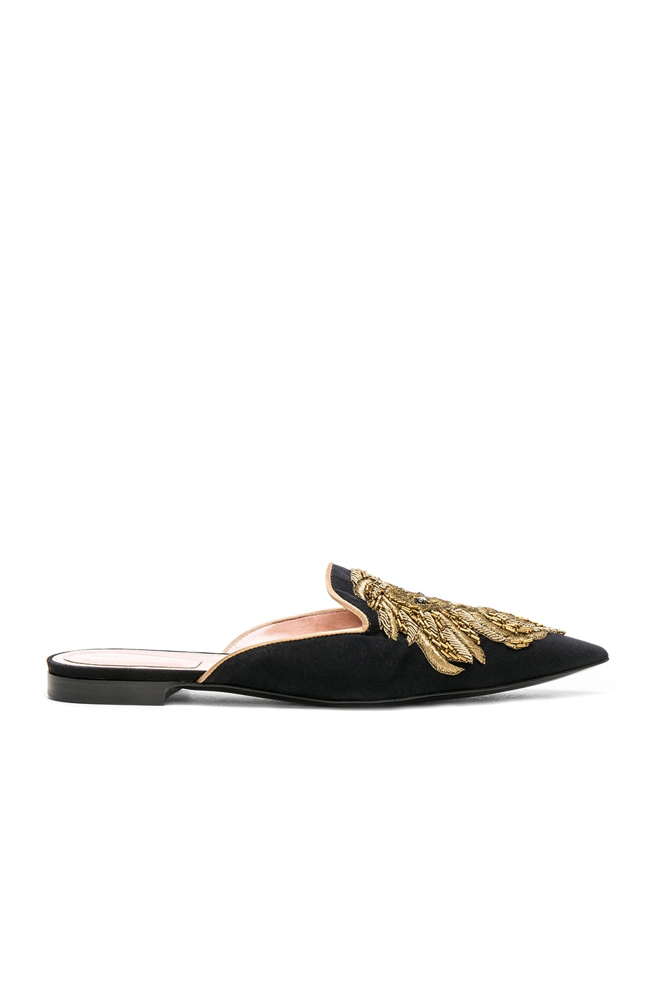 Image 1 of ALBERTA FERRETTI Satin Lion Embroidered Mules in Black