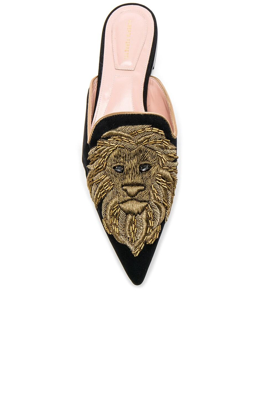 Image 4 of ALBERTA FERRETTI Satin Lion Embroidered Mules in Black