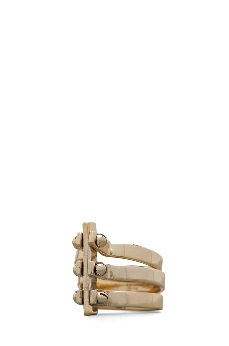 Image 1 of A.L.C. Three Section Hand Cuff Ring in Brass