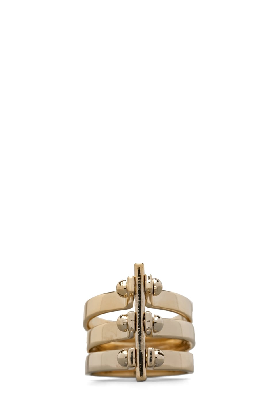 Image 2 of A.L.C. Three Section Hand Cuff Ring in Brass
