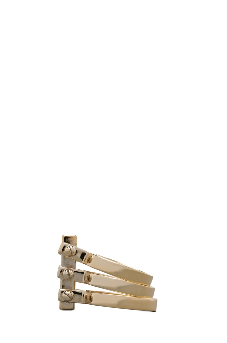 Image 3 of A.L.C. Three Section Hand Cuff Ring in Brass
