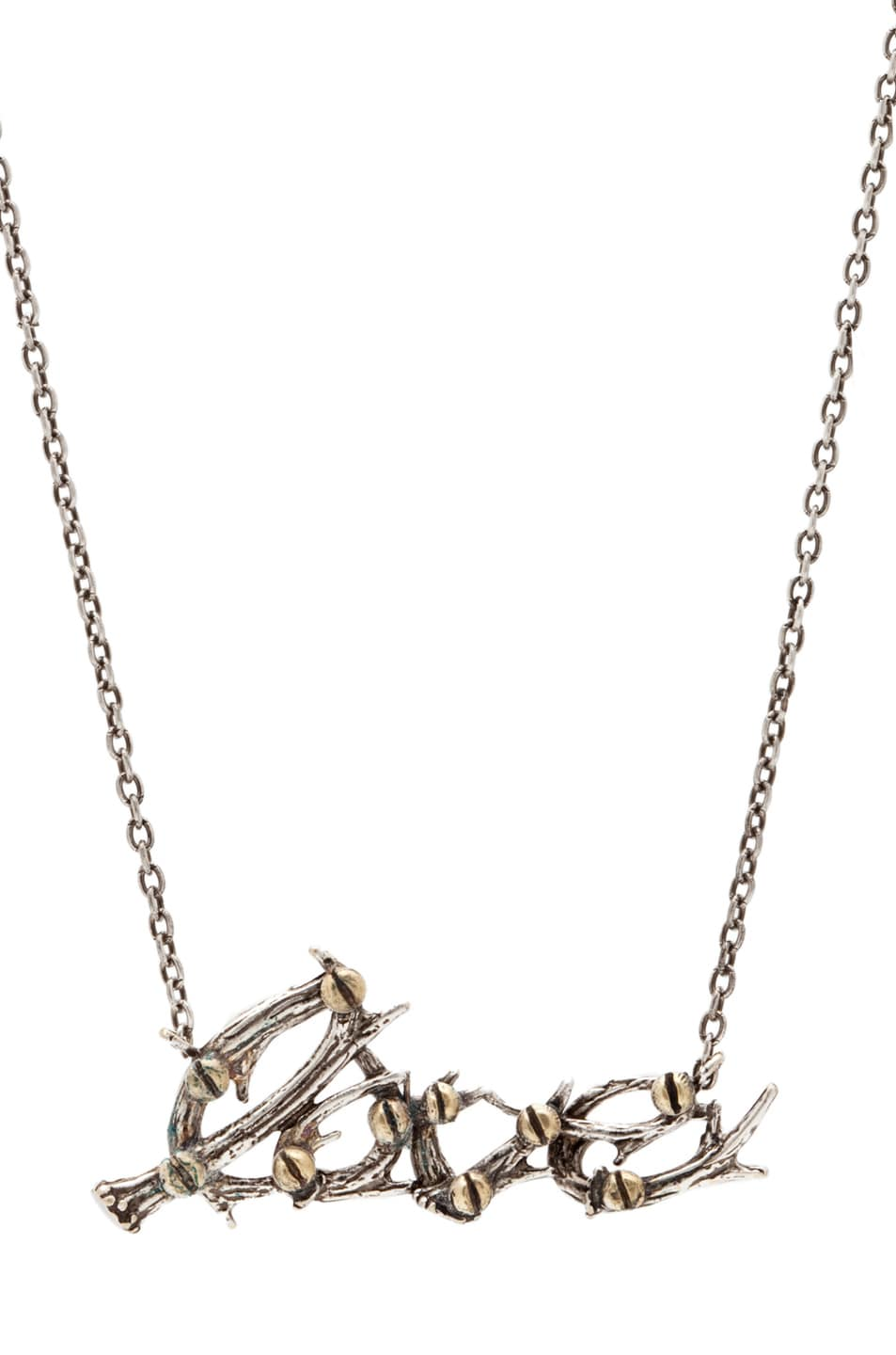 Image 1 of A.L.C. Antler Love Necklace w/ Brass Plated Screws in Silver