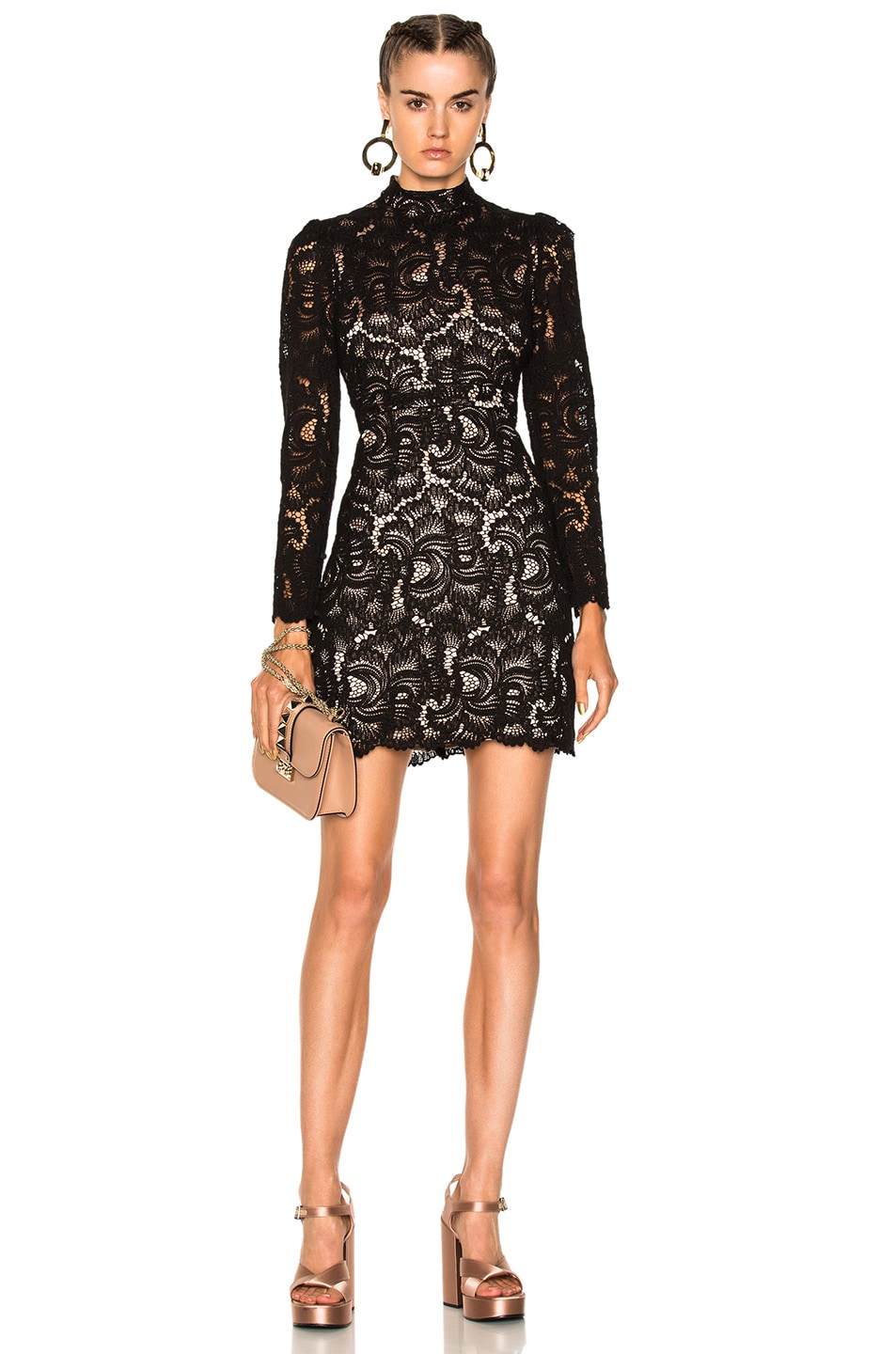 A.L.C Nova Mock-Neck Long-Sleeve Lace Cocktail Dress, Black | ModeSens