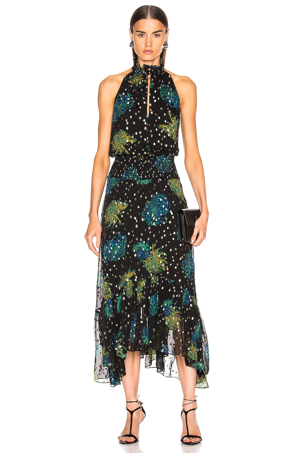 Image 1 of A.L.C. Kaia Dress in Black & Green & Yellow