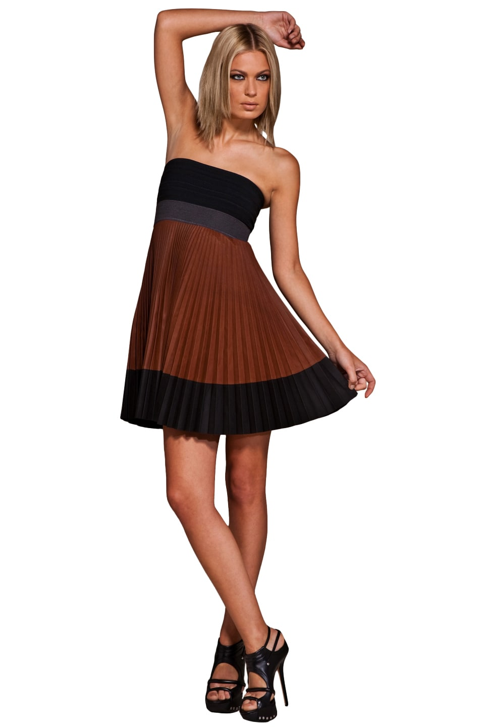 Image 1 of A.L.C. Pleated Leather Dress in Brown