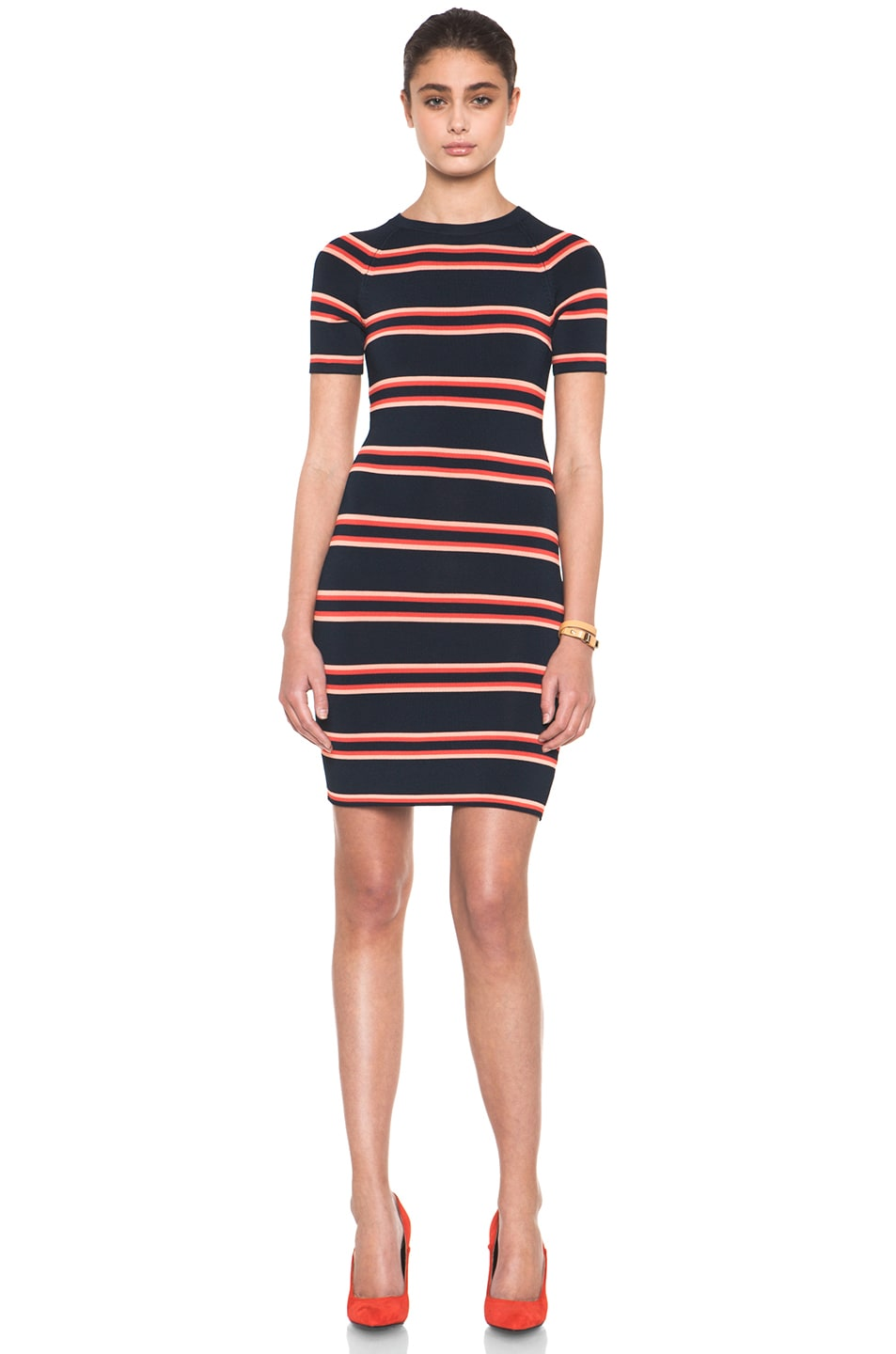 Image 1 of A.L.C. Thompson Dress in Navy & Flame & Coral