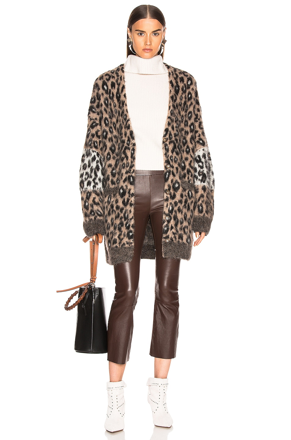 Image 1 of A.L.C. Leone Cardigan in Taupe & Black & White