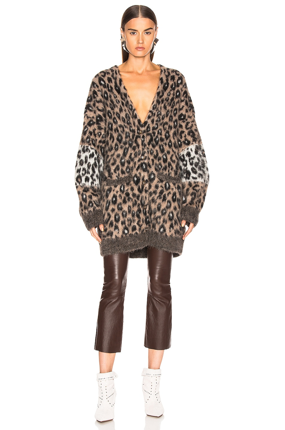 Image 2 of A.L.C. Leone Cardigan in Taupe & Black & White