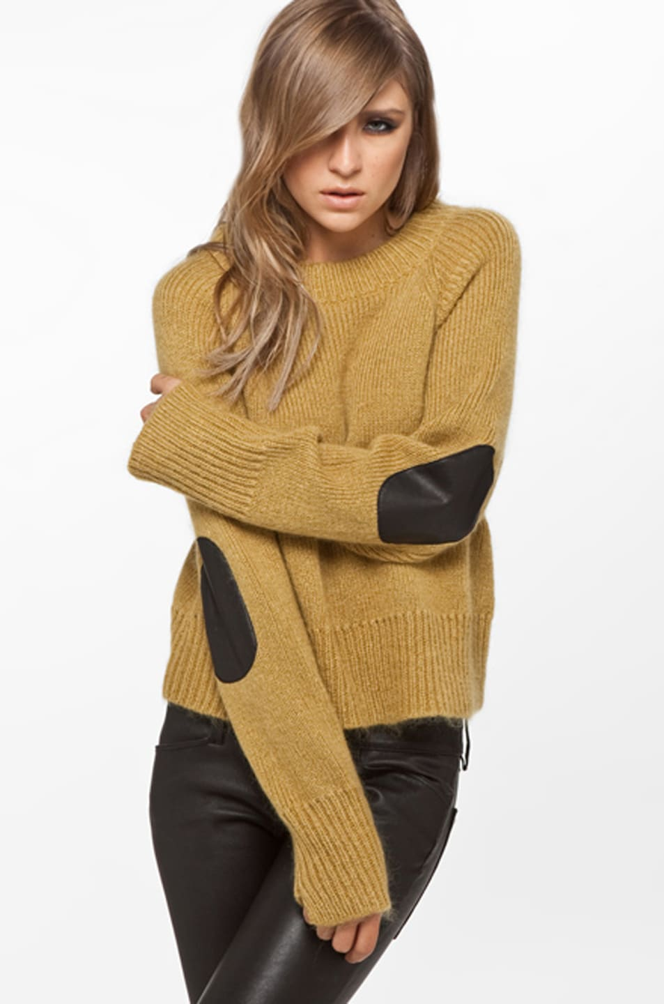 Image 1 of A.L.C. Zipper Crew Sweater in Mustard
