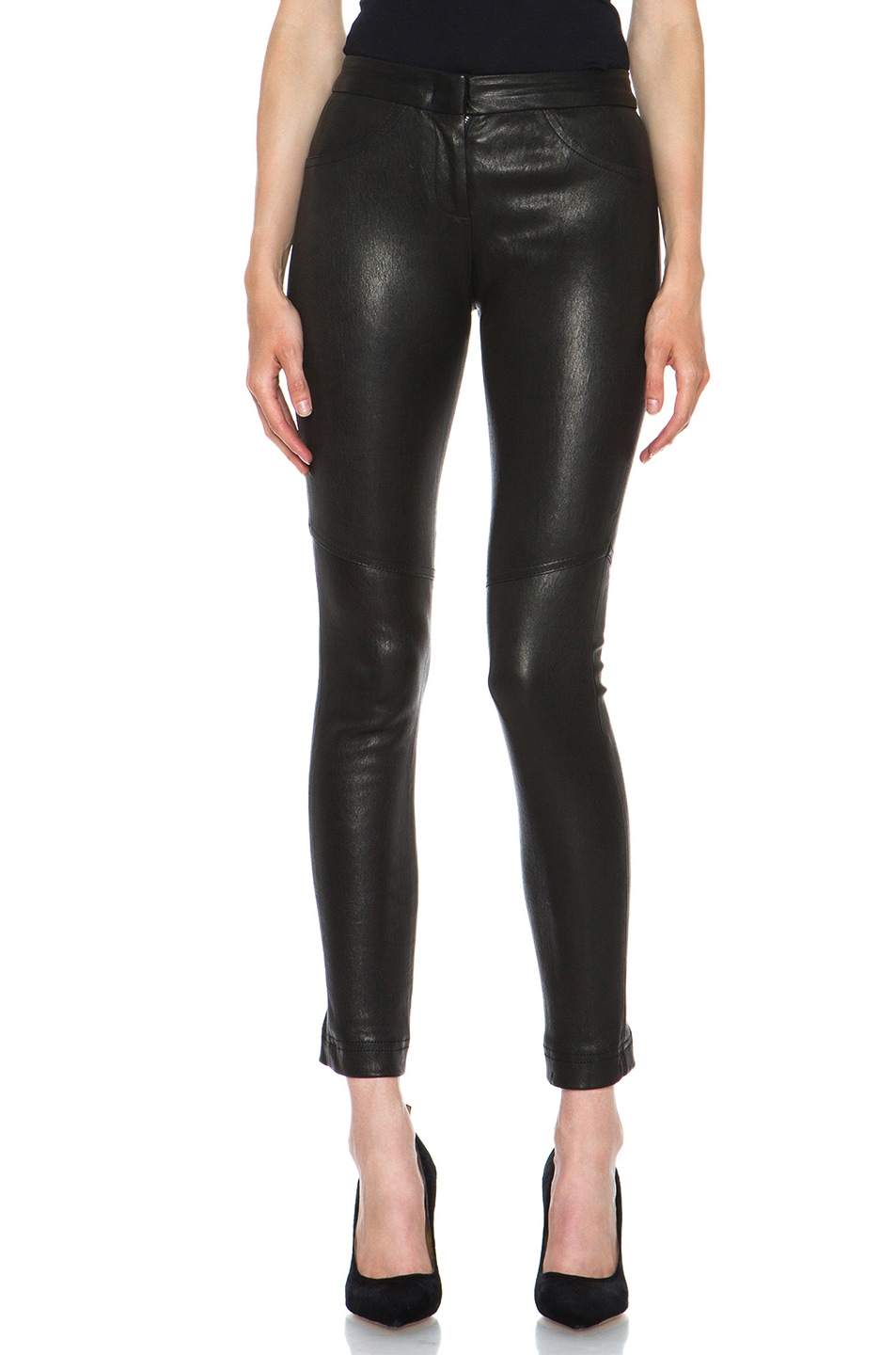 Image 1 of A.L.C. Misa French Stretch Leather Pant in Black