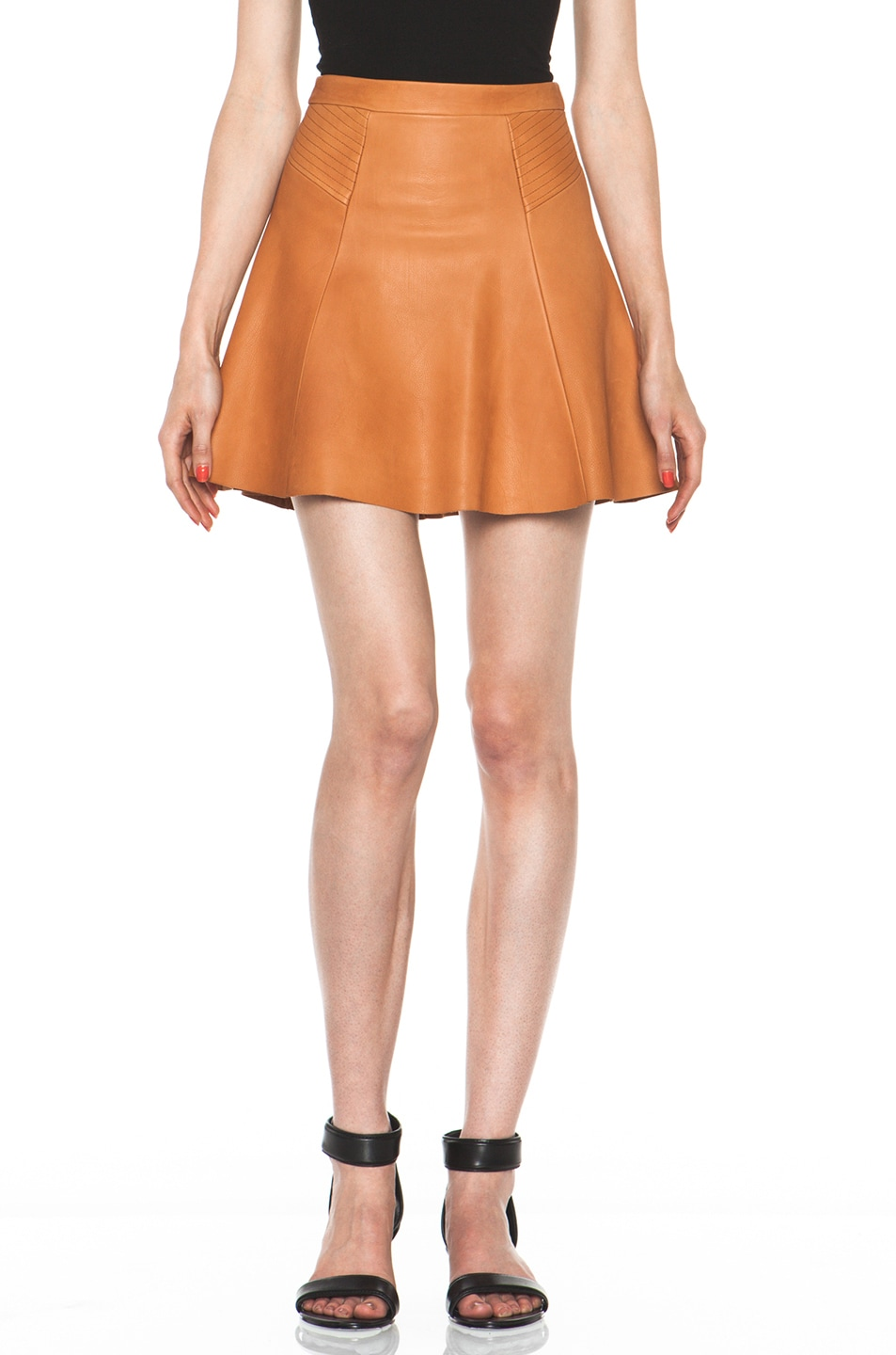 Image 1 of A.L.C. Reese Leather Skirt in Caramel