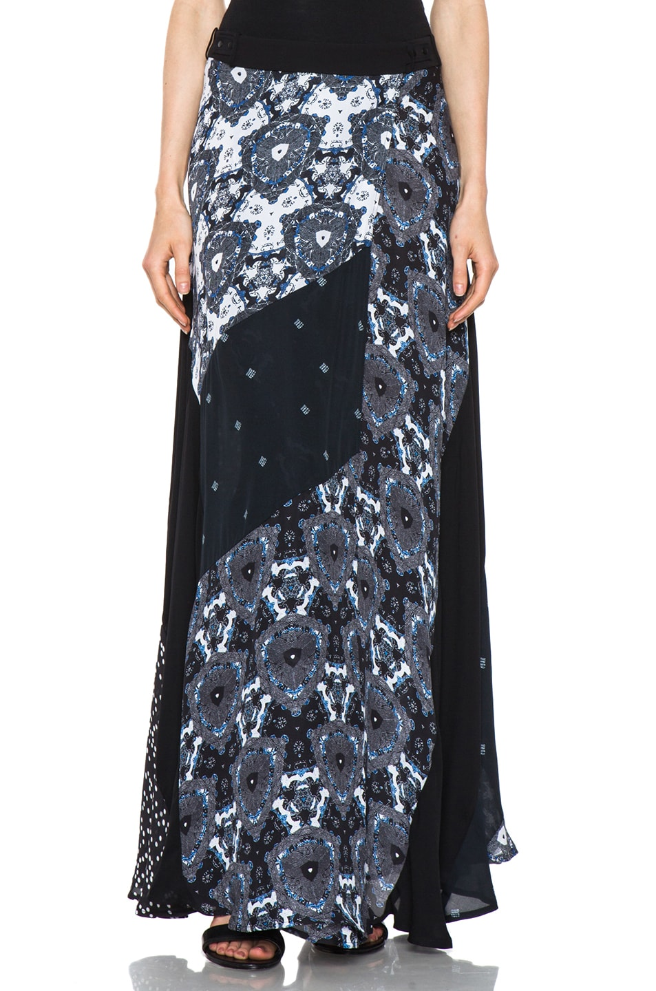 Image 1 of A.L.C. Brixton Floral Shibori Skirt in Black & Blue