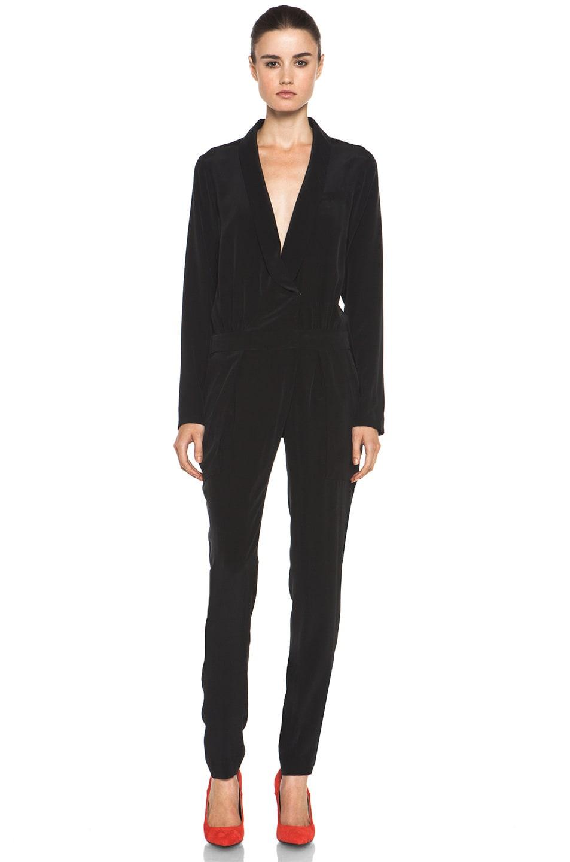 Image 1 of A.L.C. Carey Silk Jumpsuit in Black
