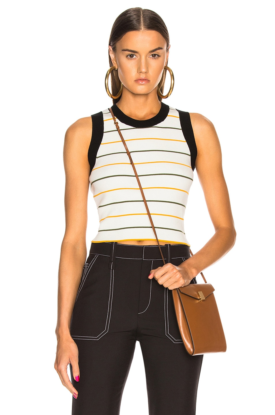 Image 1 of A.L.C. Rita Top in White, Olive & Mustard