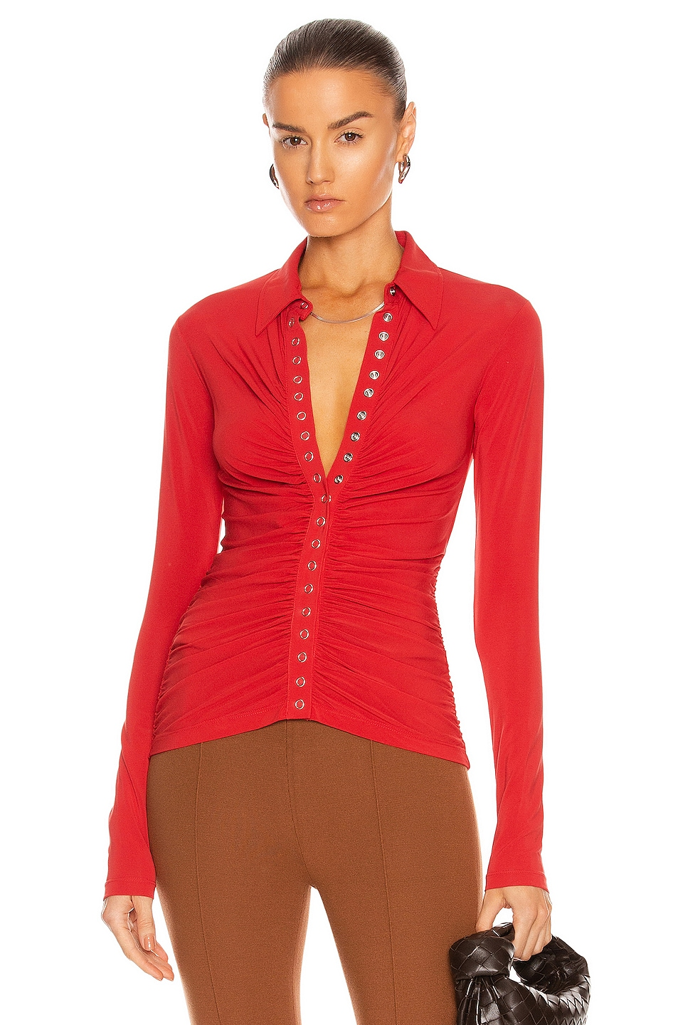 Image 1 of A.L.C. Larsen Top in Pompeian Red