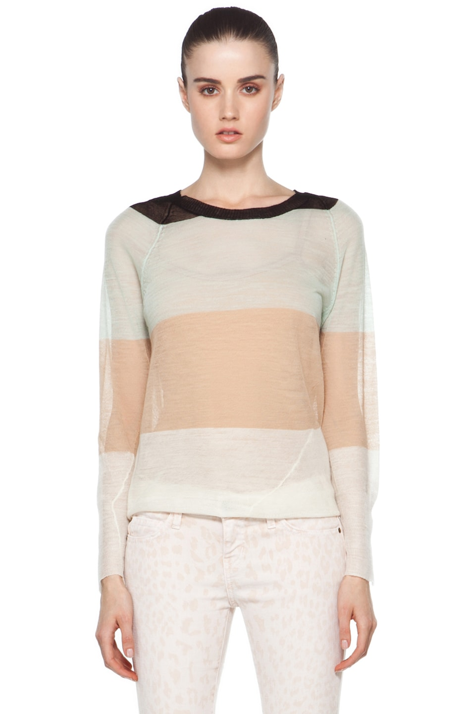 Image 1 of A.L.C. Cole Rugby Stripe Top in White/Beige/Mint/Black