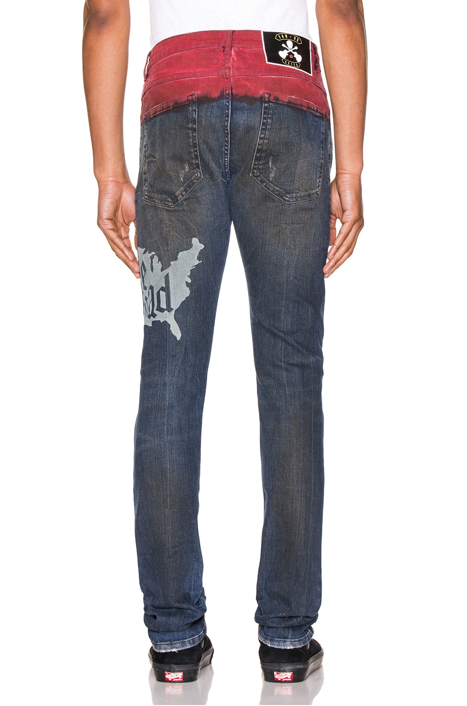 Image 4 of Alchemist Hold Etched Dip Dyed Jean in Indigo & Red