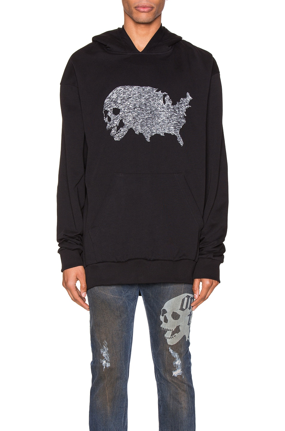 Image 1 of Alchemist USA Skull Tweed Hoodie in Black
