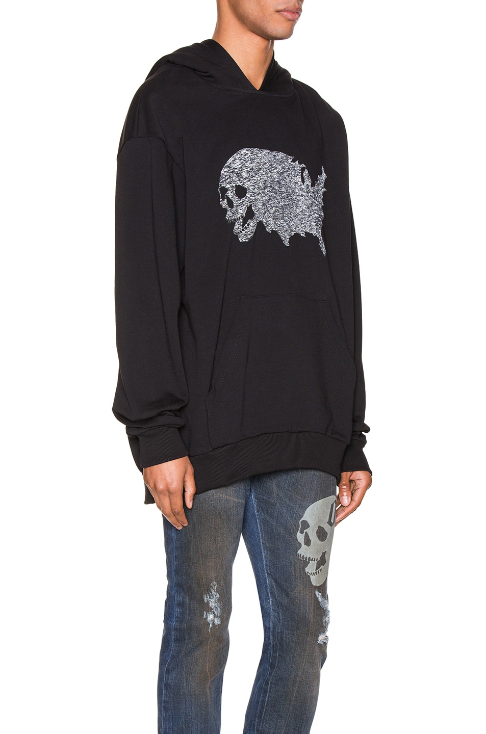 Image 2 of Alchemist USA Skull Tweed Hoodie in Black