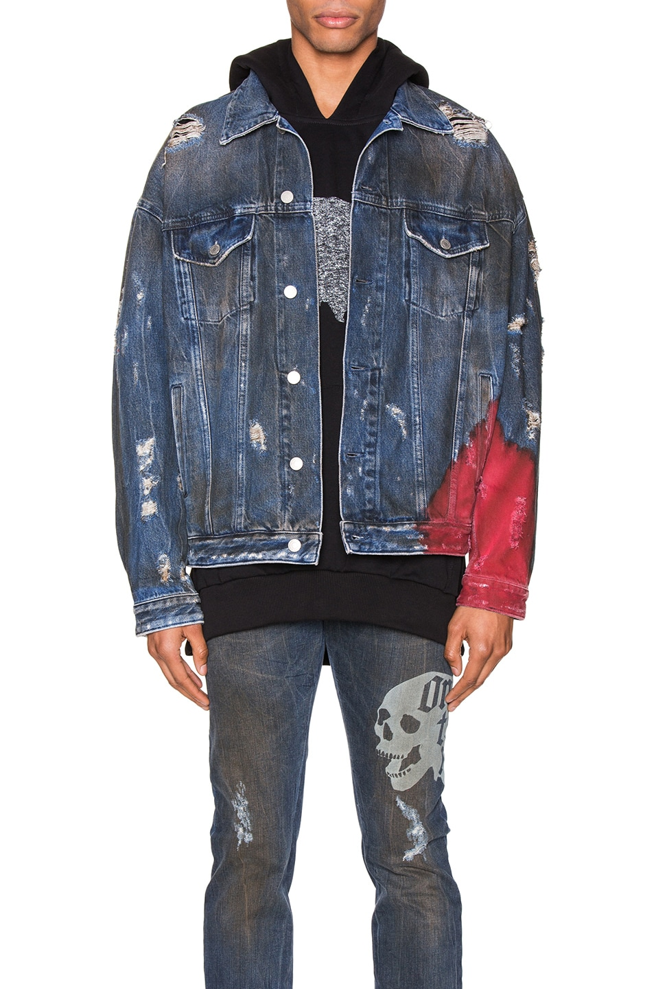 Image 2 of Alchemist Wyatt Dip Dyed Denim Trucker in Indigo & Red