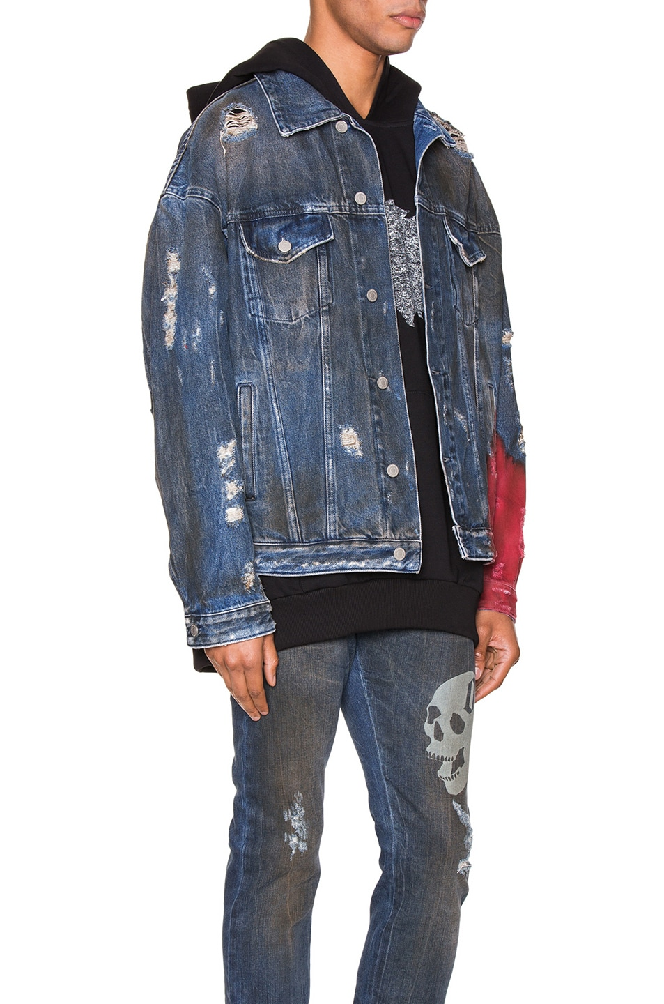 Image 3 of Alchemist Wyatt Dip Dyed Denim Trucker in Indigo & Red