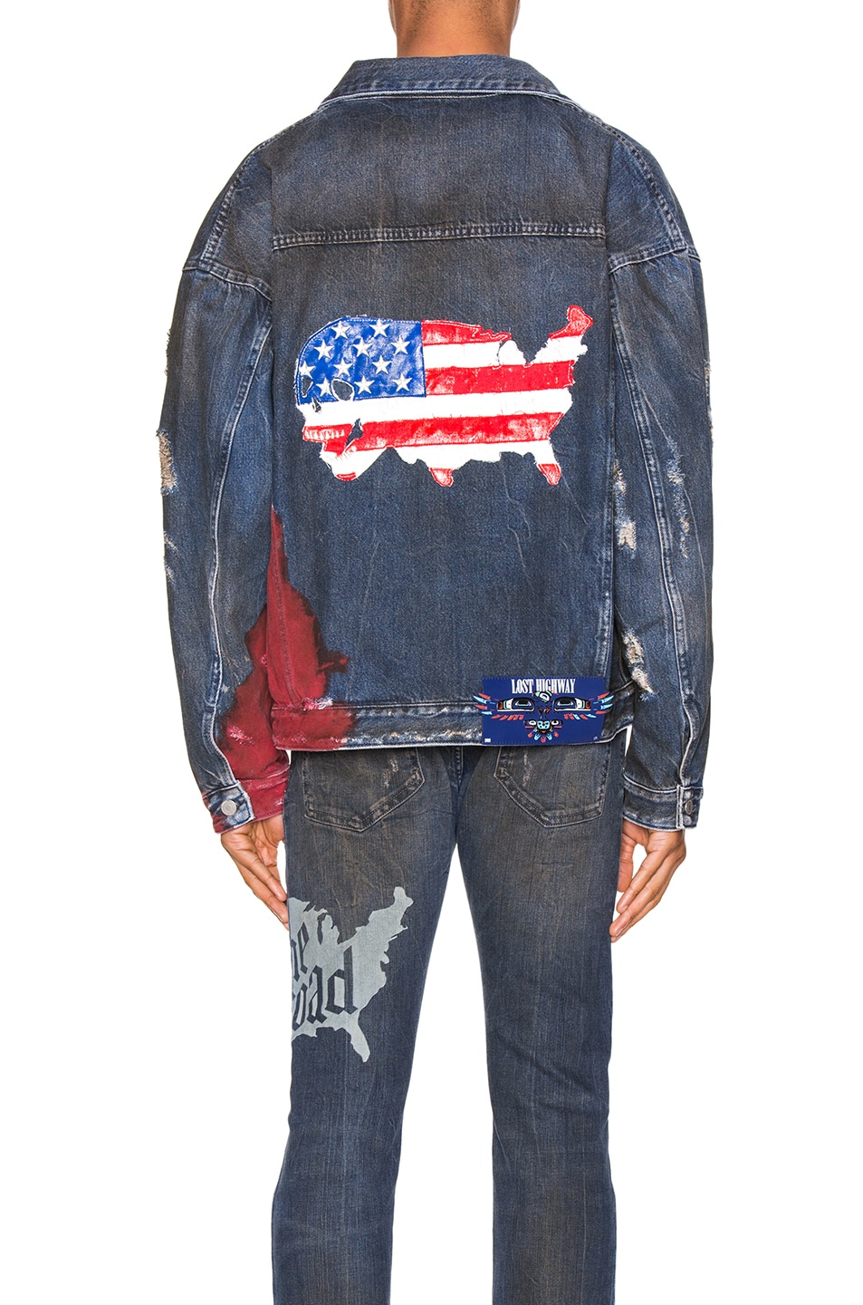 Image 5 of Alchemist Wyatt Dip Dyed Denim Trucker in Indigo & Red
