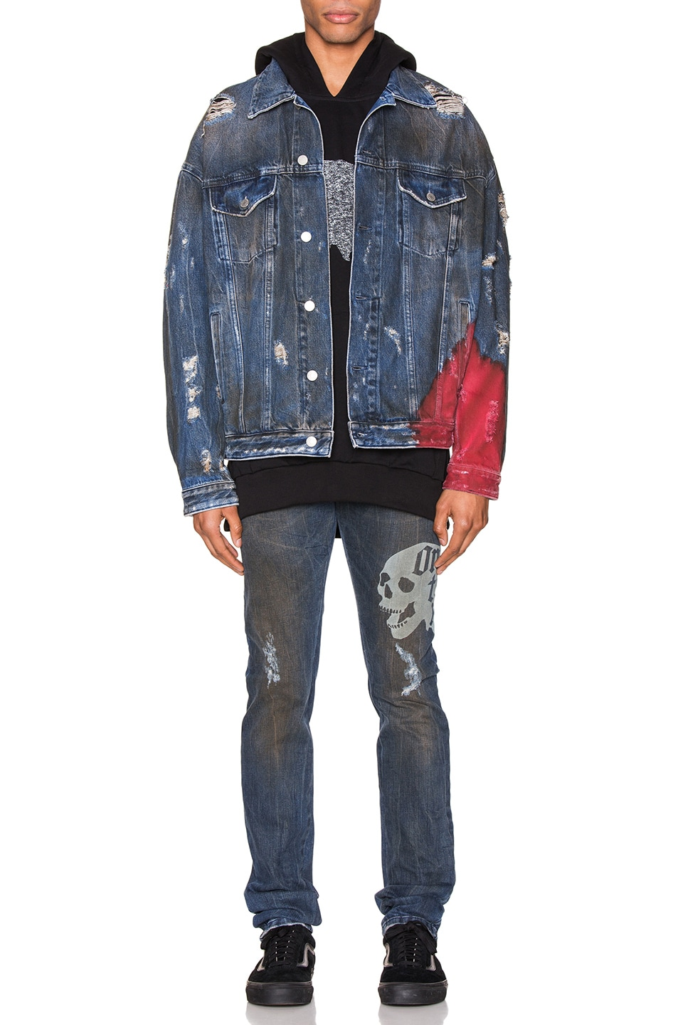 Image 6 of Alchemist Wyatt Dip Dyed Denim Trucker in Indigo & Red