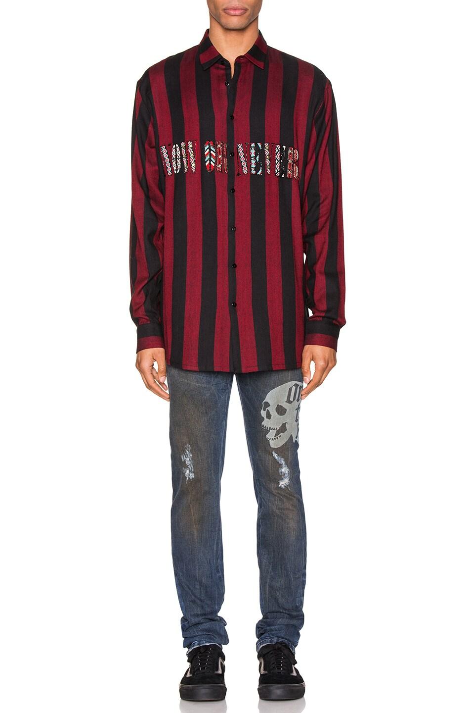 Image 4 of Alchemist Flynn Striped Shirt in Black & Red