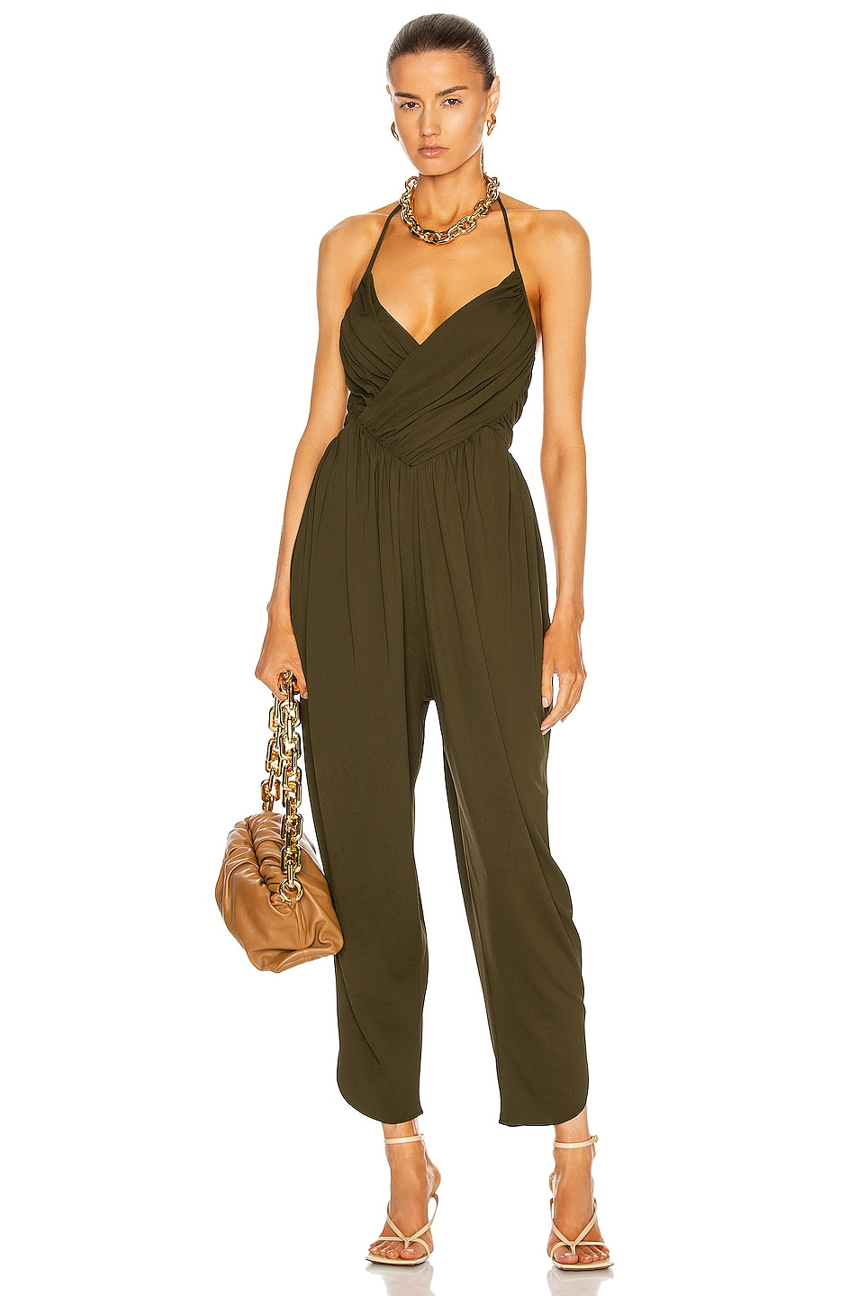 Image 1 of Alexandre Vauthier Ruched Jumpsuit in Bronze