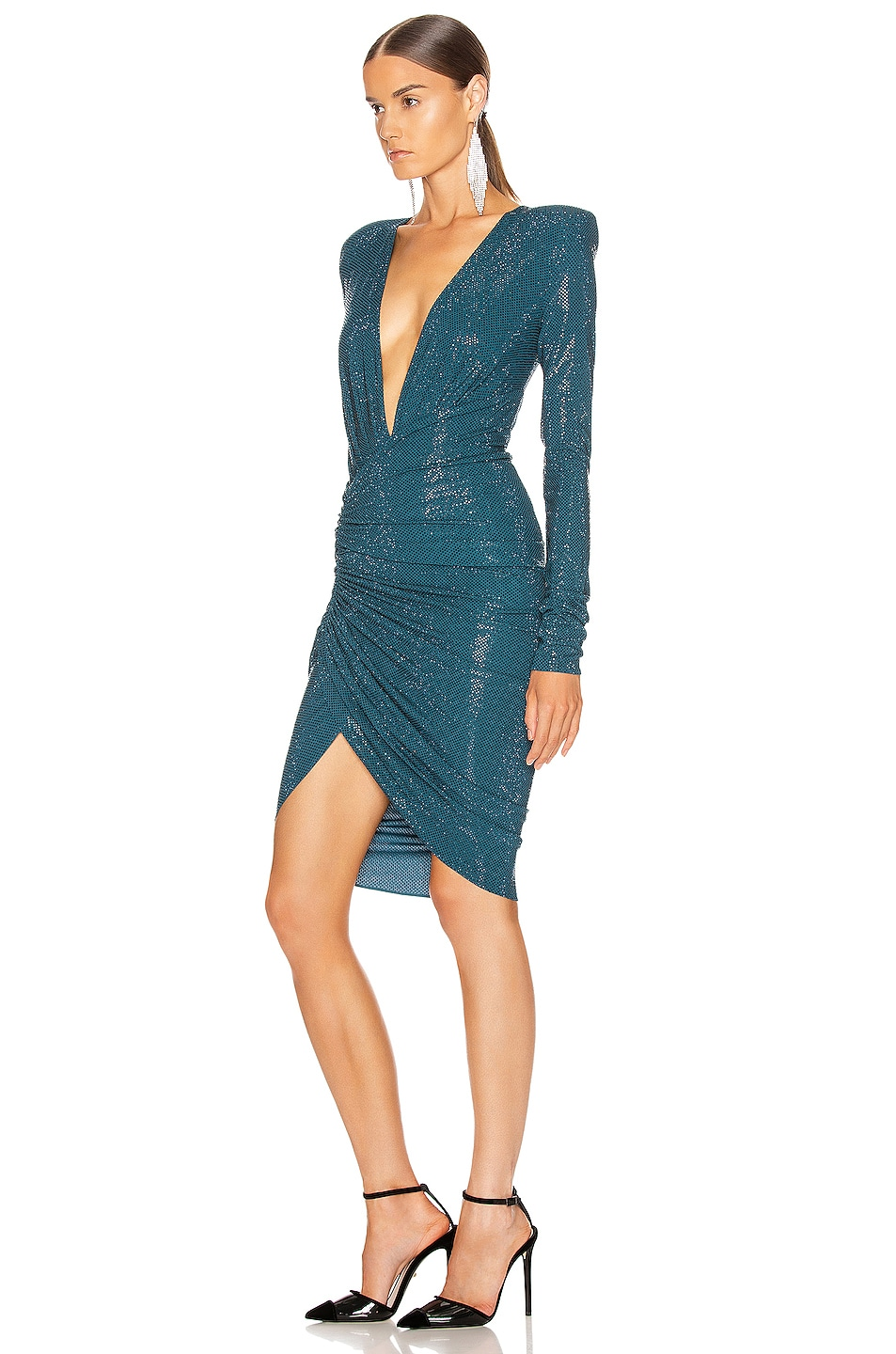 Image 3 of Alexandre Vauthier Ruched Microcrystal Mini Dress in Cobalt