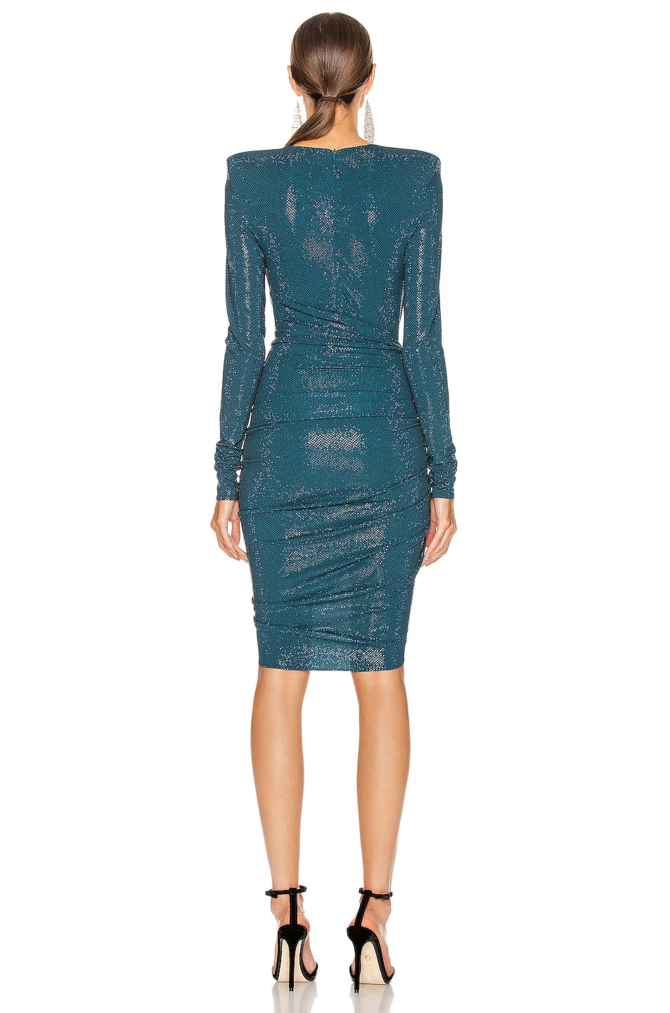 Image 4 of Alexandre Vauthier Ruched Microcrystal Mini Dress in Cobalt