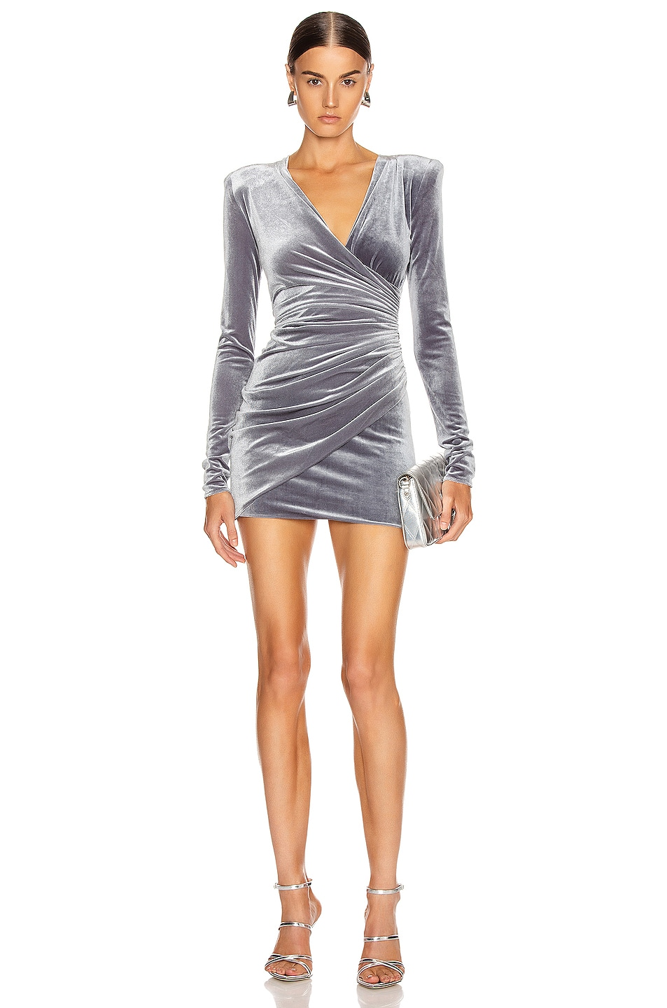 Image 1 of Alexandre Vauthier Ruched Velvet Mini Dress in Steel