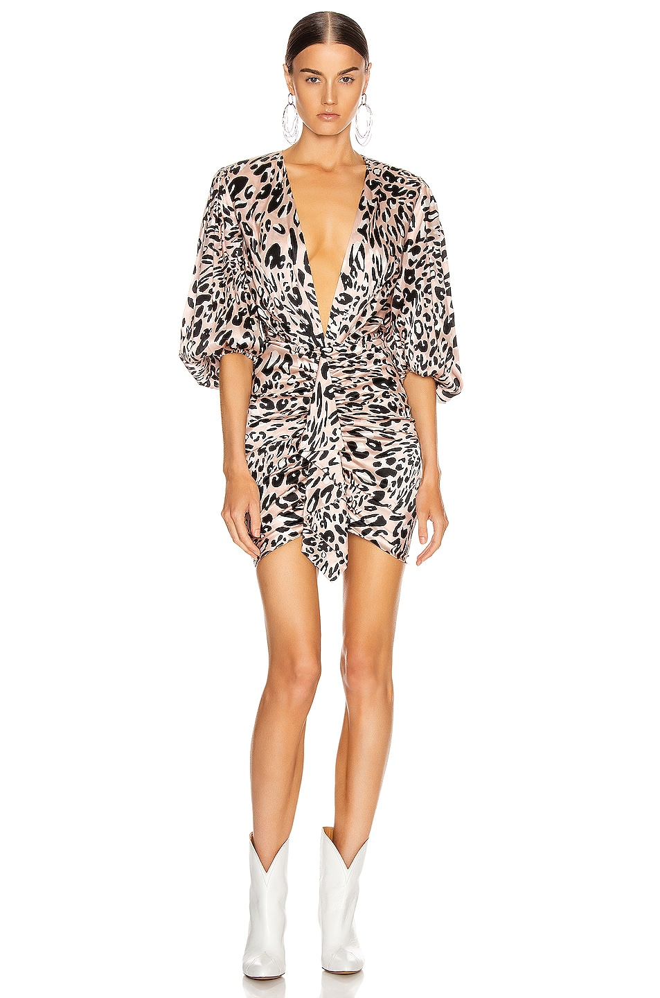 Image 1 of Alexandre Vauthier Plunging Leo Mini Dress in Powder
