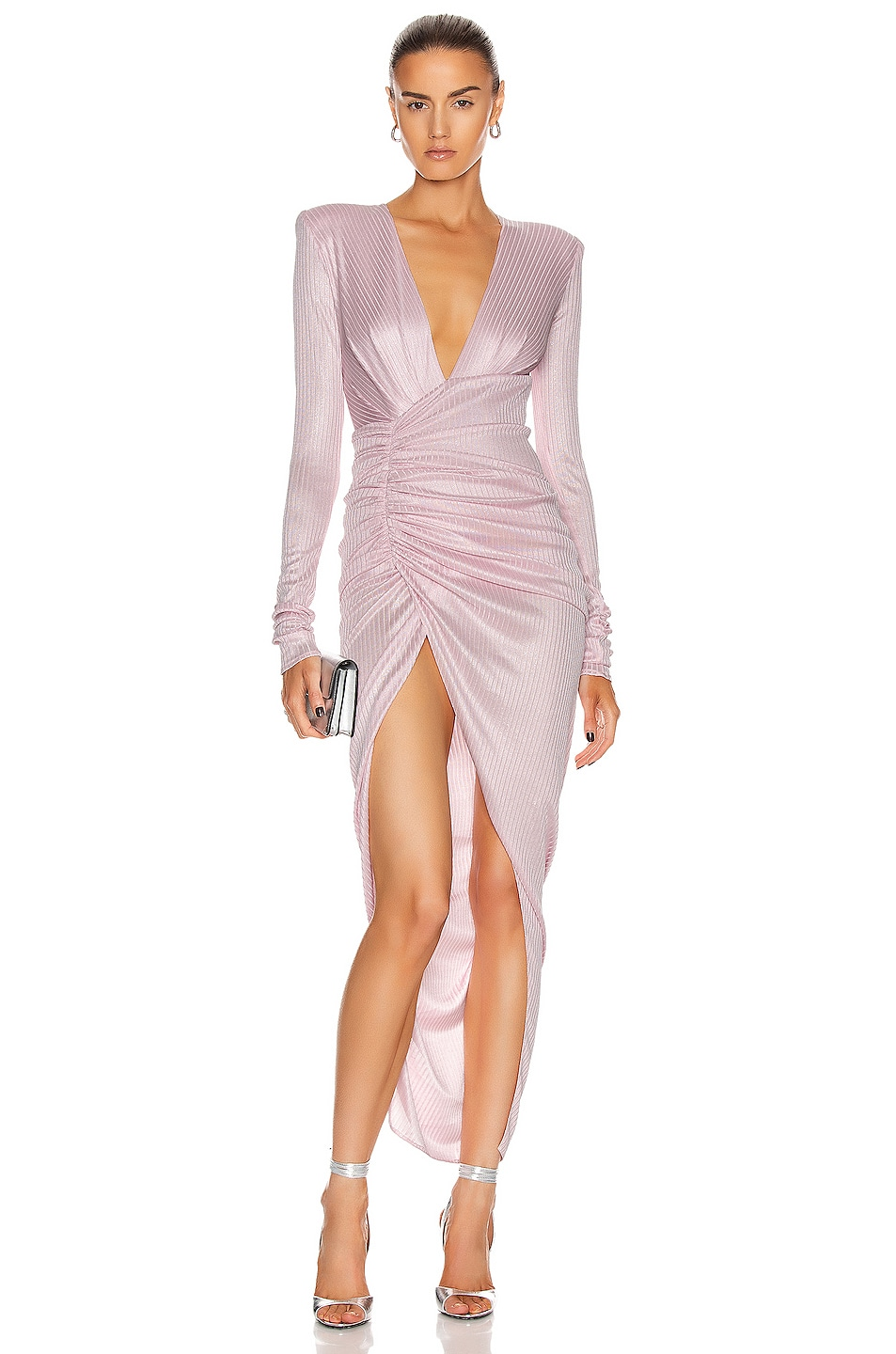 Image 1 of Alexandre Vauthier Lame Rib Long Sleeve Dress in Pink