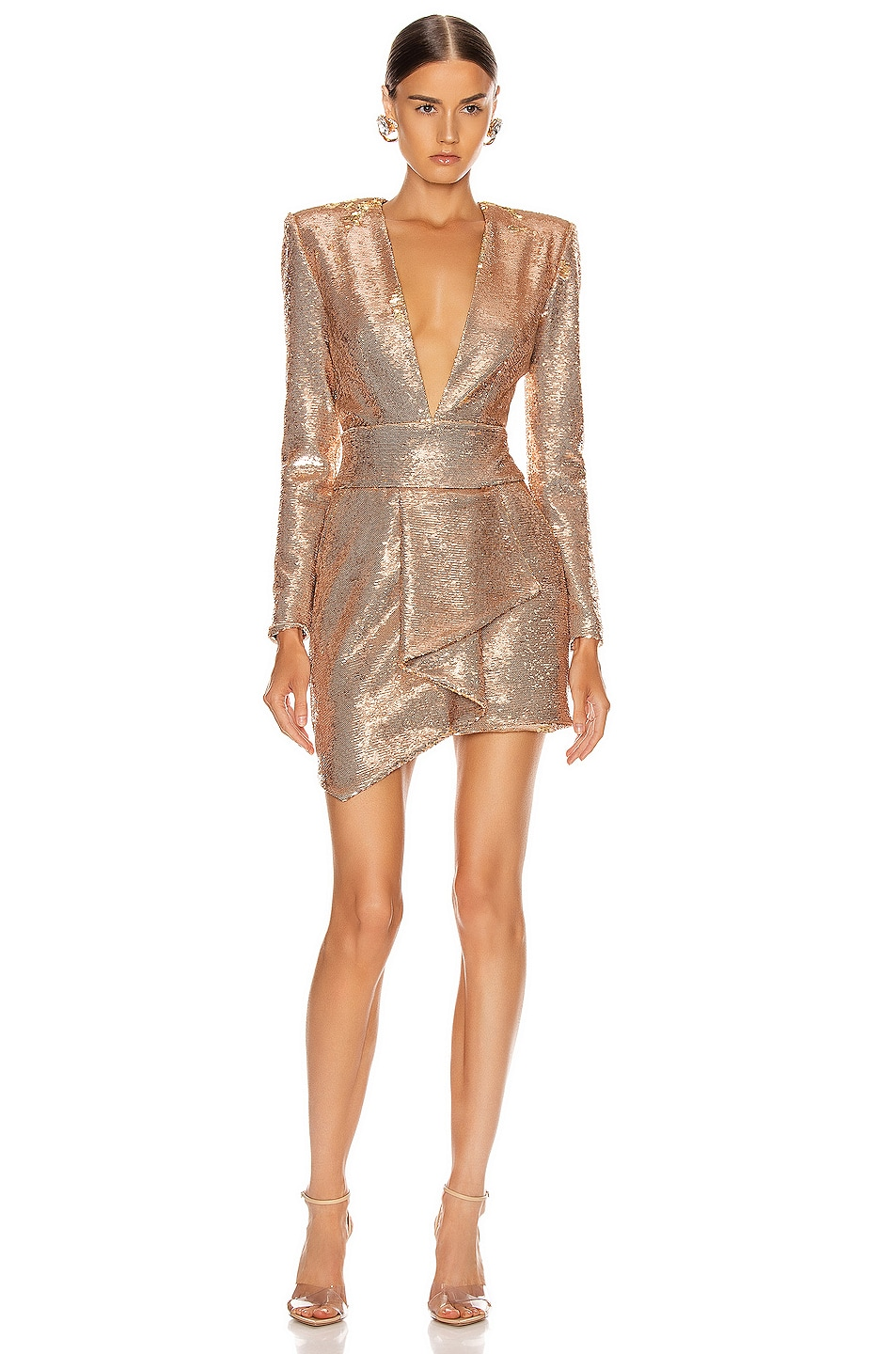 Image 1 of Alexandre Vauthier Sequin Plunging Mini Dress in Pink Gold