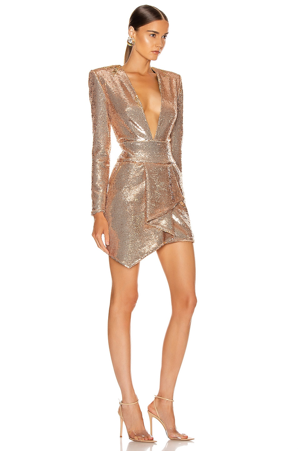 Image 2 of Alexandre Vauthier Sequin Plunging Mini Dress in Pink Gold