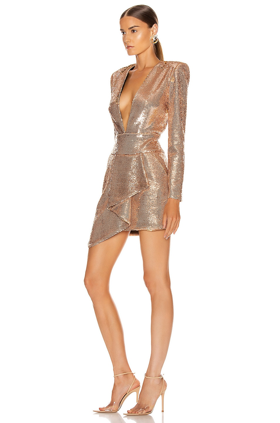Image 3 of Alexandre Vauthier Sequin Plunging Mini Dress in Pink Gold