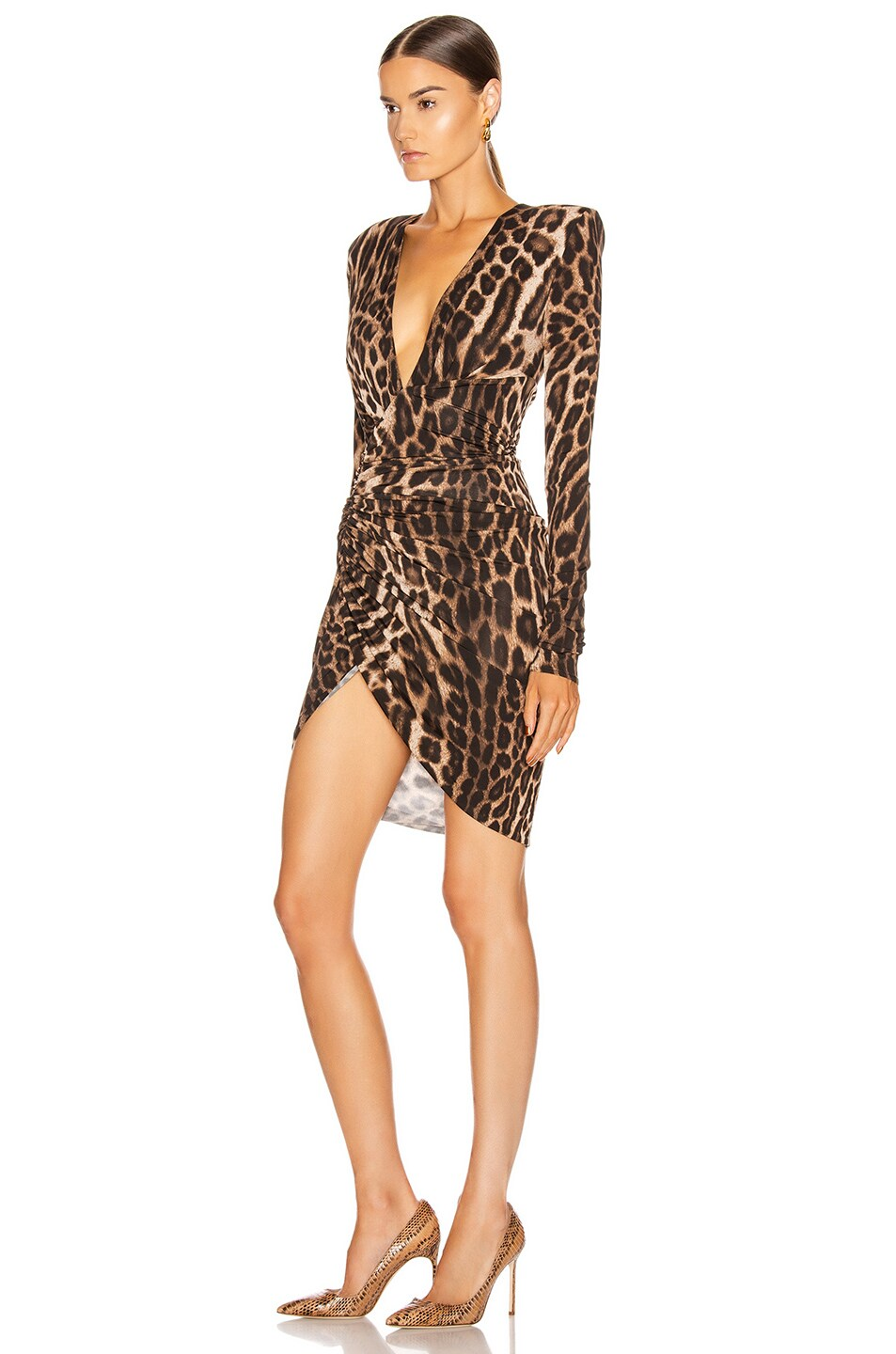 Image 3 of Alexandre Vauthier for FWRD Plunging Ruched Mini Dress in Animal