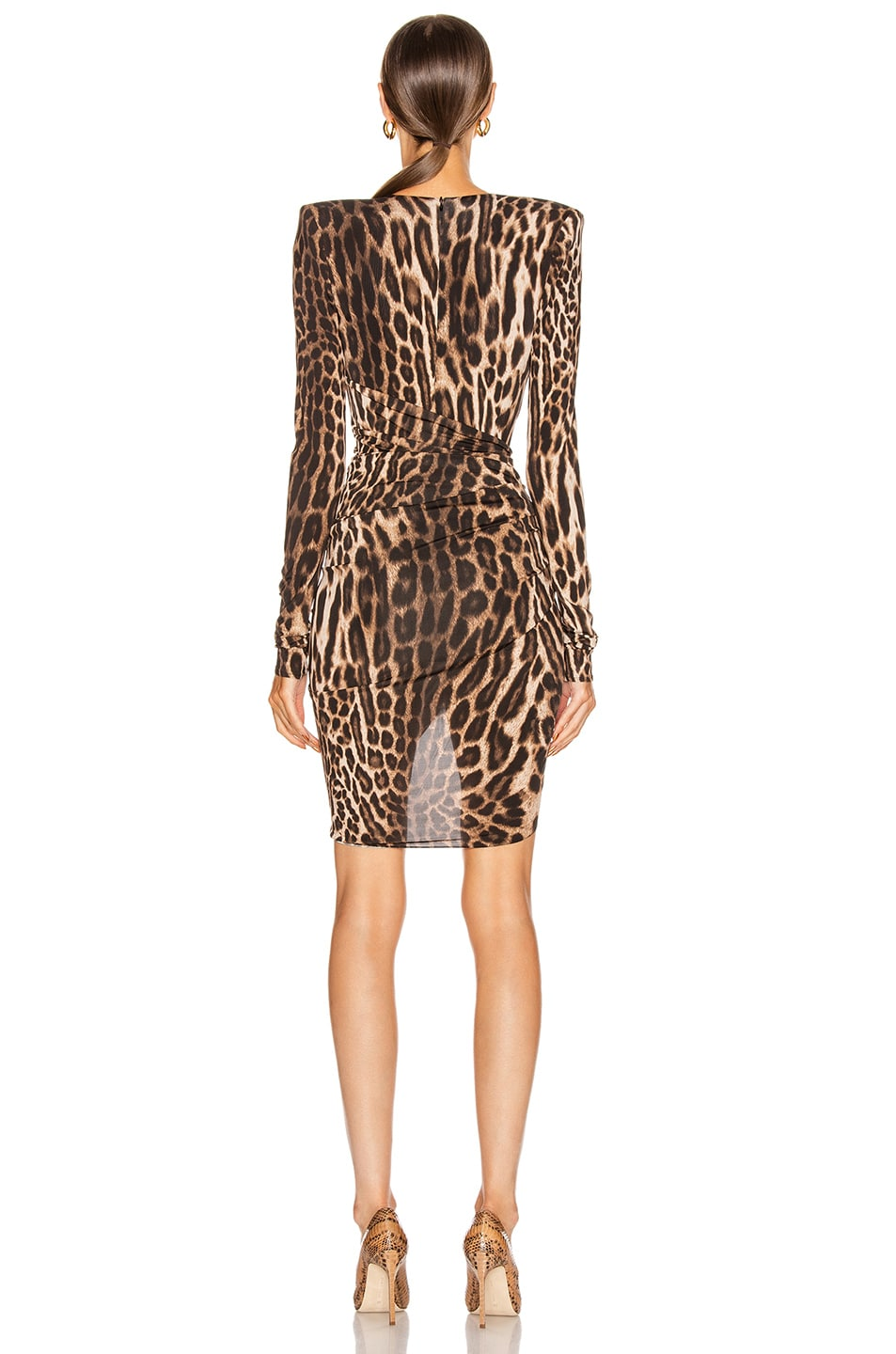 Image 4 of Alexandre Vauthier for FWRD Plunging Ruched Mini Dress in Animal