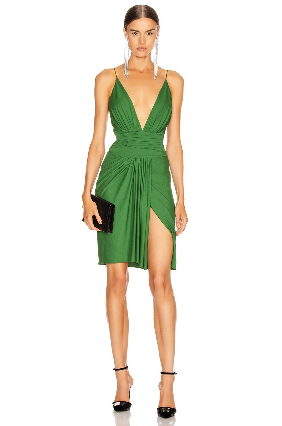 Image 1 of Alexandre Vauthier Stretch Jersey Mini Dress in Moss