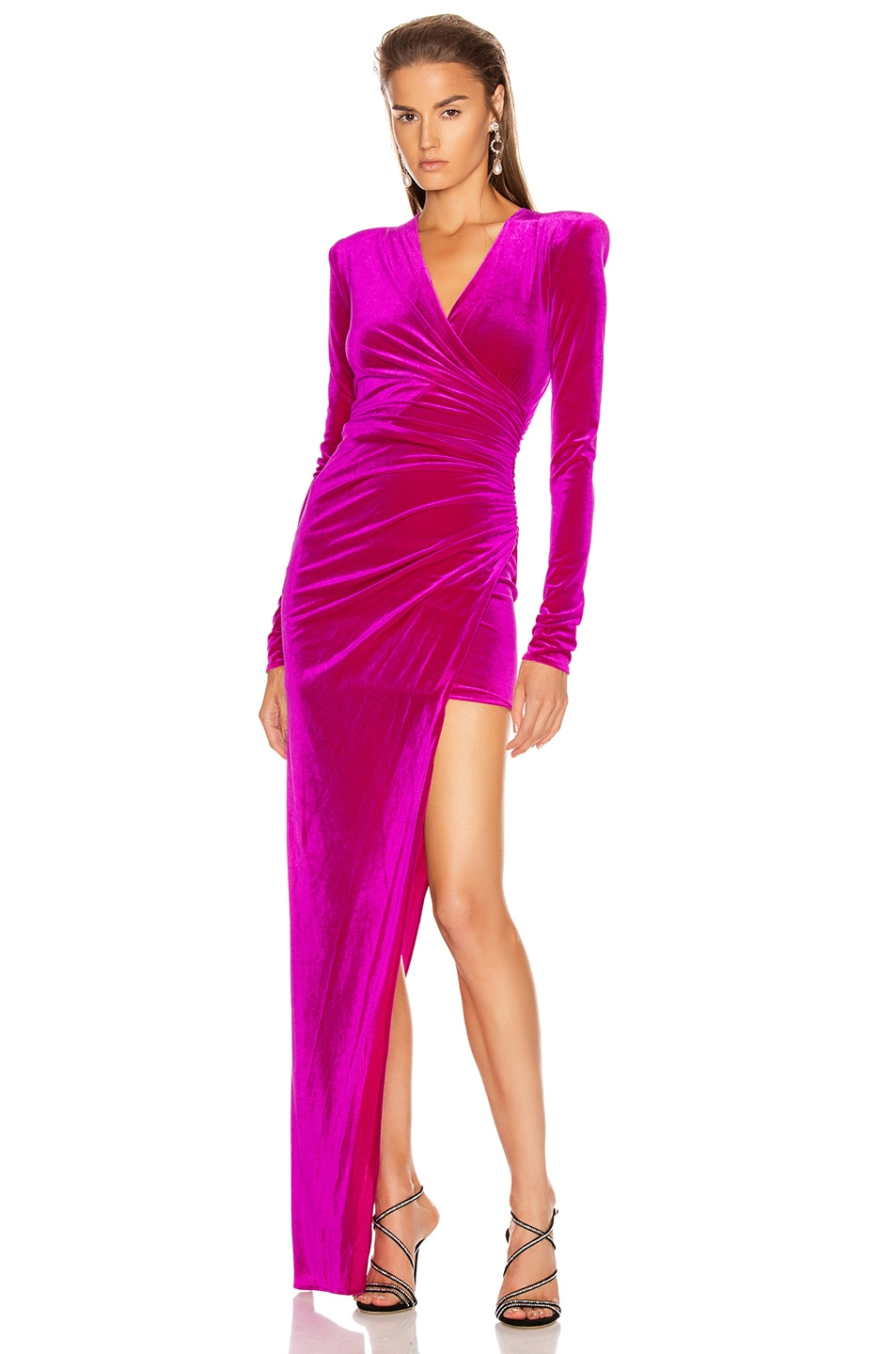 Image 1 of Alexandre Vauthier for FWRD Ruched Velvet Gown in Fuchsia