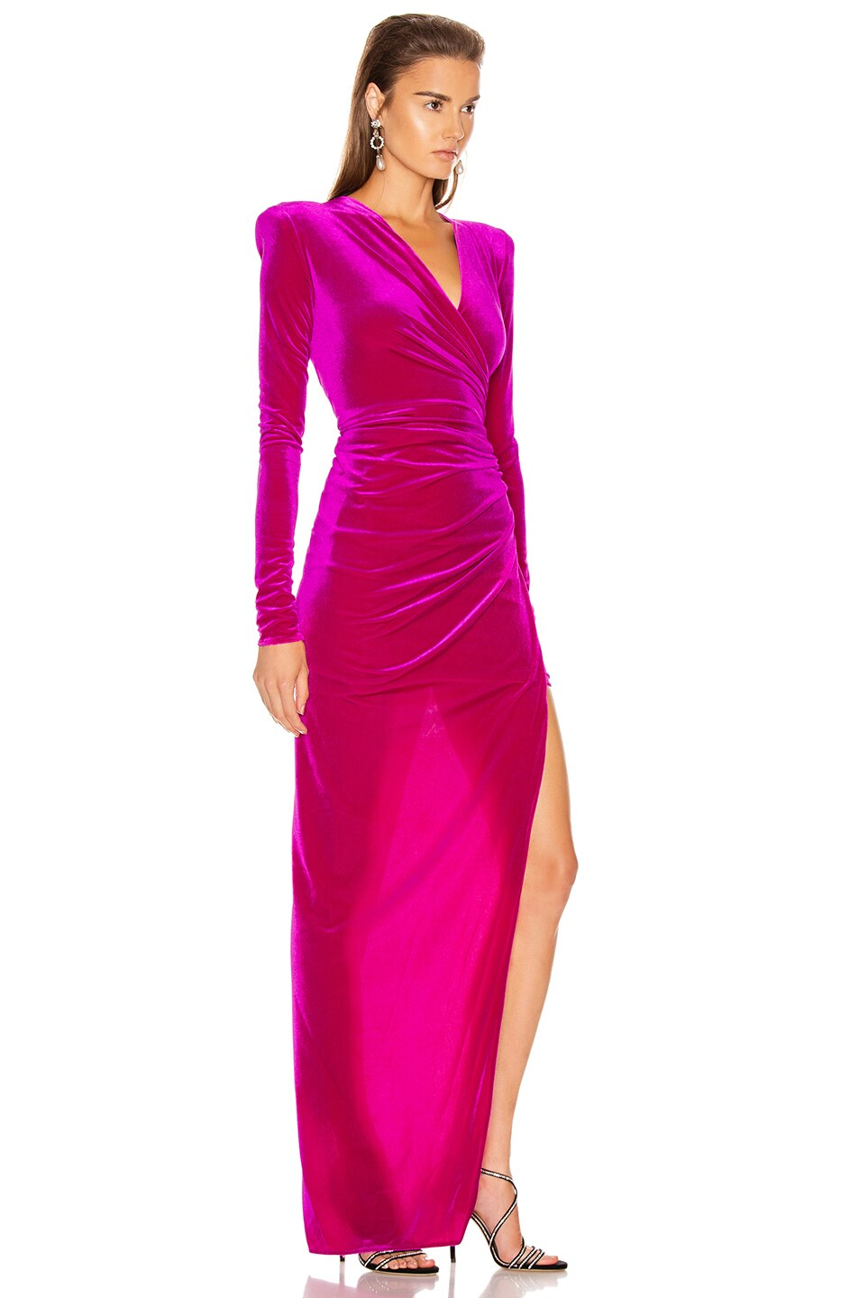 Image 2 of Alexandre Vauthier for FWRD Ruched Velvet Gown in Fuchsia