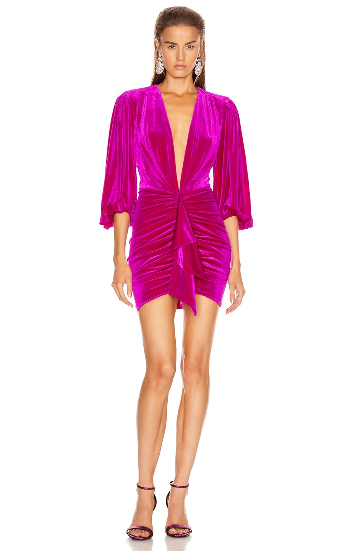 Image 1 of Alexandre Vauthier for FWRD Plunging Puff Sleeve Velvet Mini Dress in Fuchsia