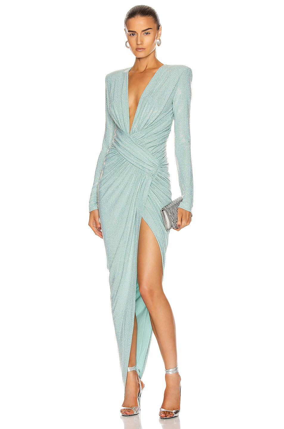 Image 1 of Alexandre Vauthier Microcrystal Plunging Maxi Dress in Mint