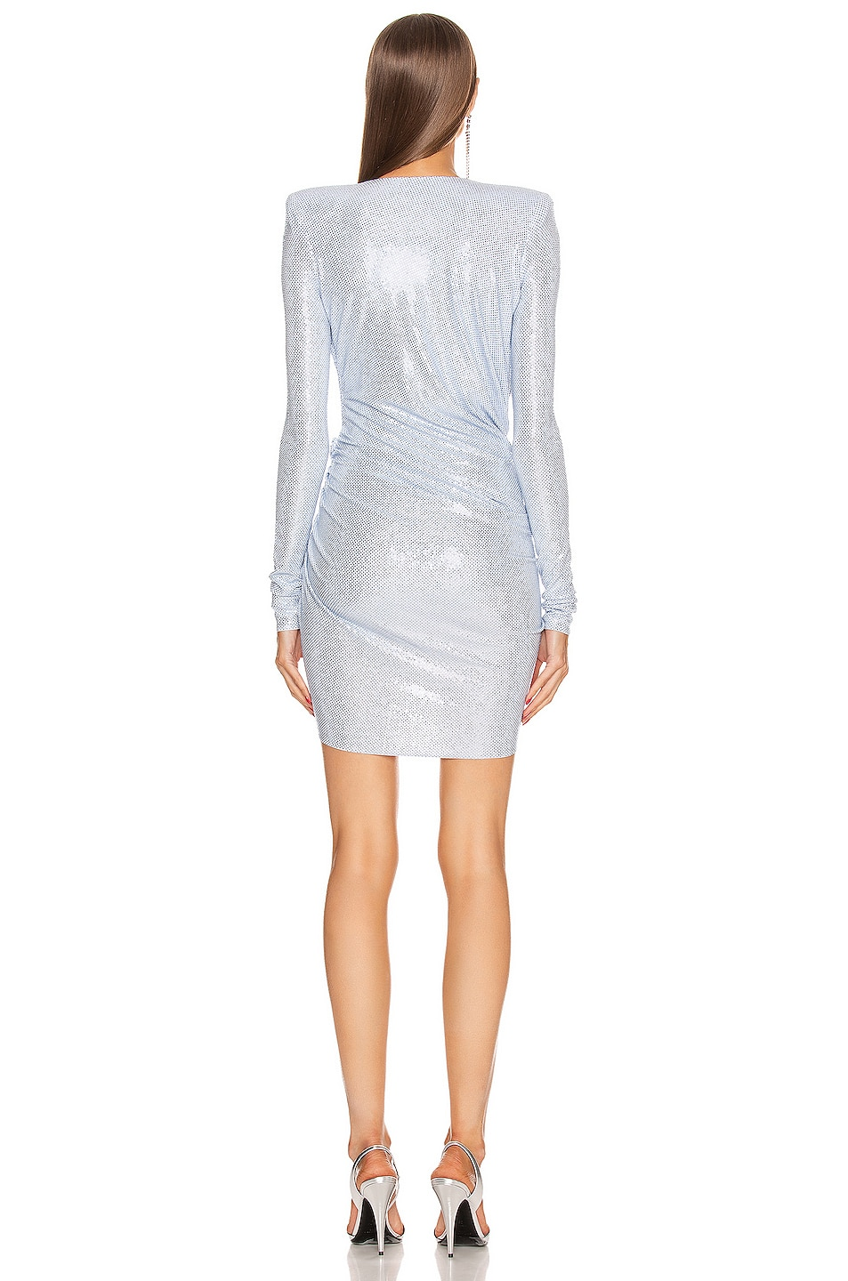 Image 4 of Alexandre Vauthier Micro Crystal Mini Dress in Sky