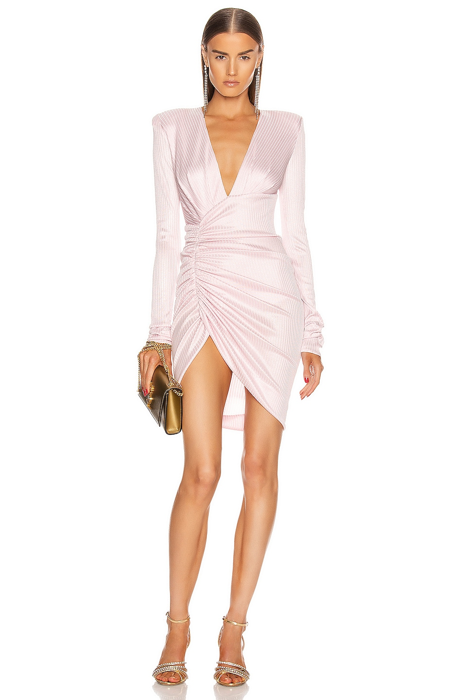 Image 1 of Alexandre Vauthier Lame Rib Jersey Mini Dress in Pink