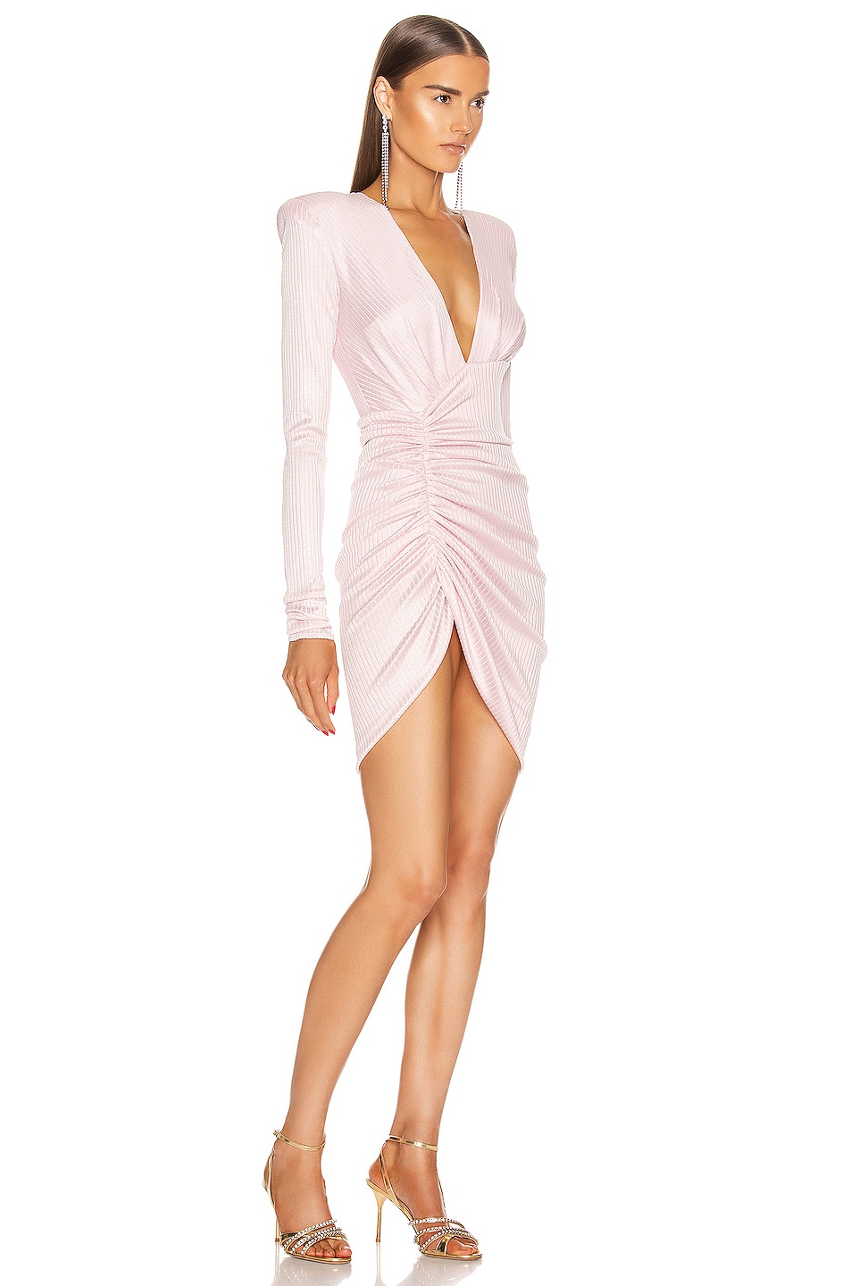 Image 2 of Alexandre Vauthier Lame Rib Jersey Mini Dress in Pink